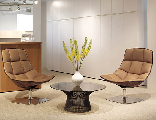 The Jehs+Laub Lounge Collection presents a sleek and sculptural profile suitable for the workplace or home.