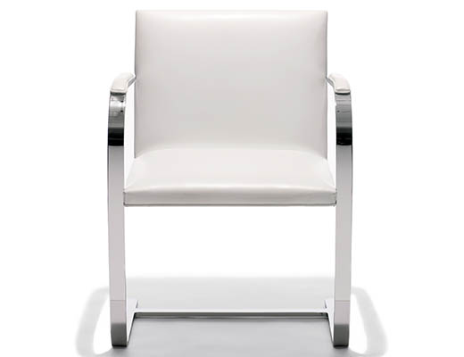 The Flat Bar Brno Chair is available with polished chrome or stainless steel frame.
