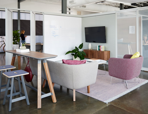 rockwell unscripted creative wall perforated steel pivot fins fixed fins enclosed rooms team meeting lounge tall table drink rail easy stools modular lounge sofa club chair occasional table coffee table credenza tv monitor markerboard muuto ply rug
