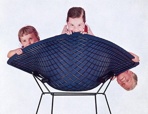 Poster of Bertoia Diamond Chair with Children