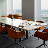 DatesWeiser Highline Conference Table DatesWeiser Highline Storage Collection Muuto Fiber Chair armchair swivel base Muuto Outline Sofa Saarinen side table conference room meeting space shared spaces