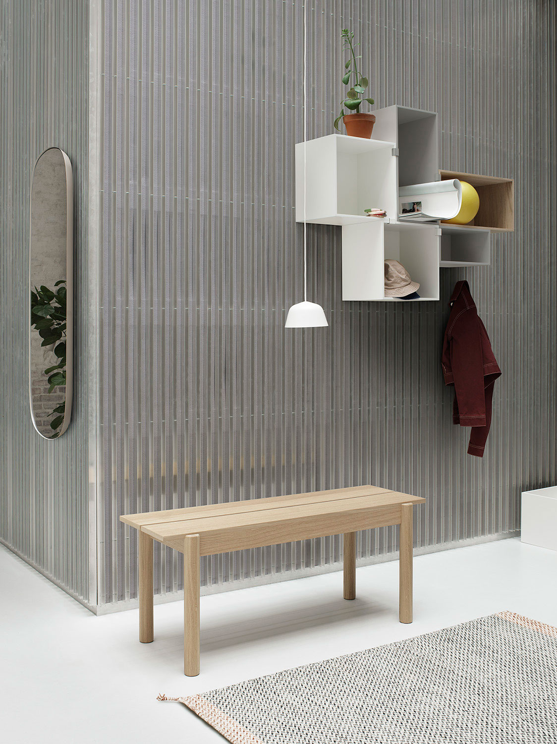 Muuto Linear Wood Bench with Mini Stacked Storage