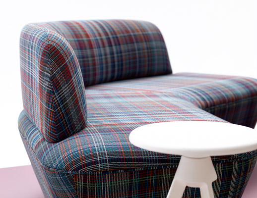 intertwine collection july 2018 dorothy cosonas knolltextiles plaidtastic upholstery plaid pattern textiles fabric large scale piton stool bleach cleanable incase finish stain resistant recycled polyester 100000 double rubs TPO bleach cleanable