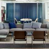 neocon 2018 hospitality at work avio sofa florence knoll coffee table pollock chair platner arm chair knoll studio lounge area