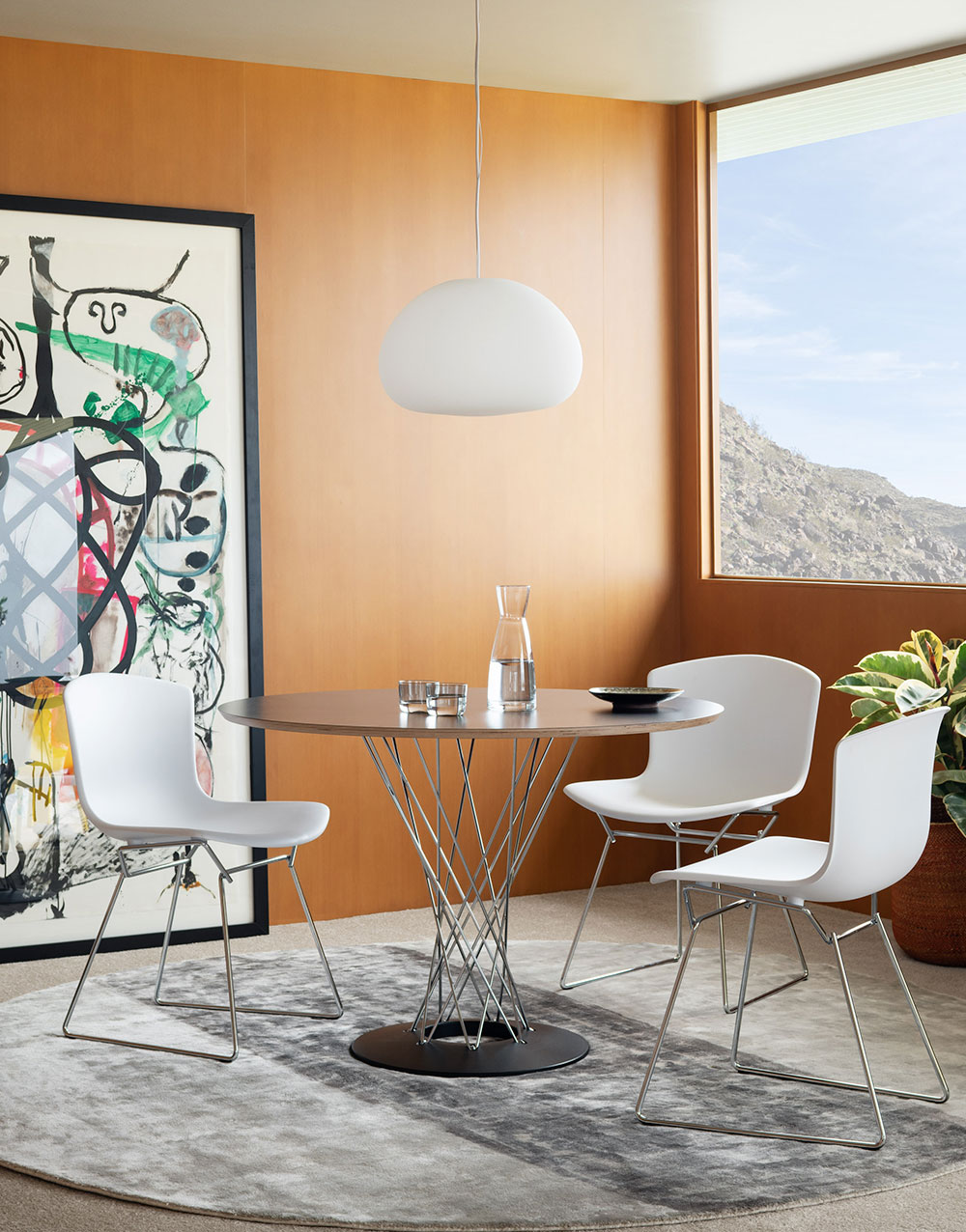 Knoll Dining Room Furniture with Cyclone Table and Bertoia Molded Side Chair