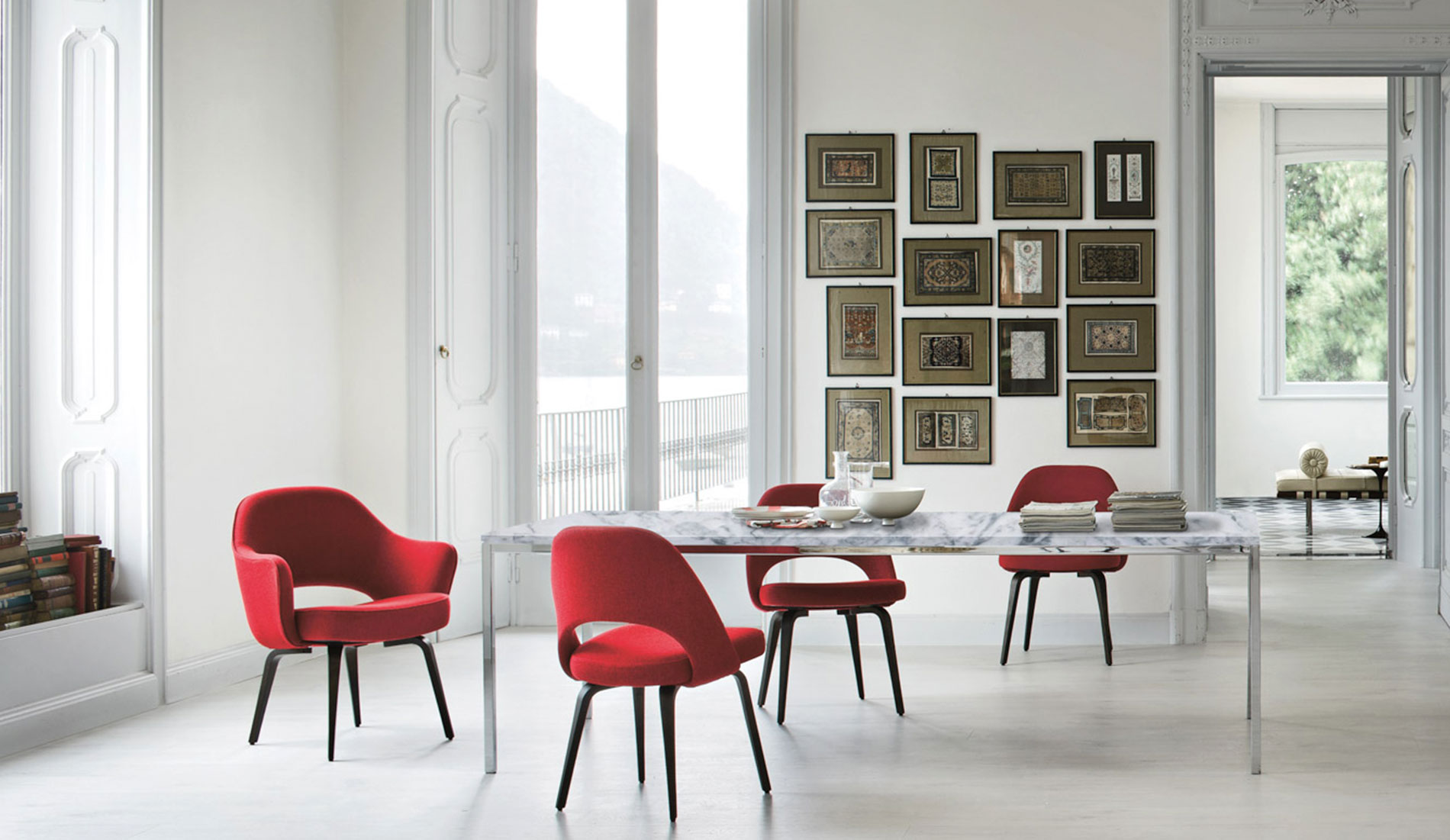 Knoll Dining Room with Florence Knoll Table and Saarinen Executive Chairs