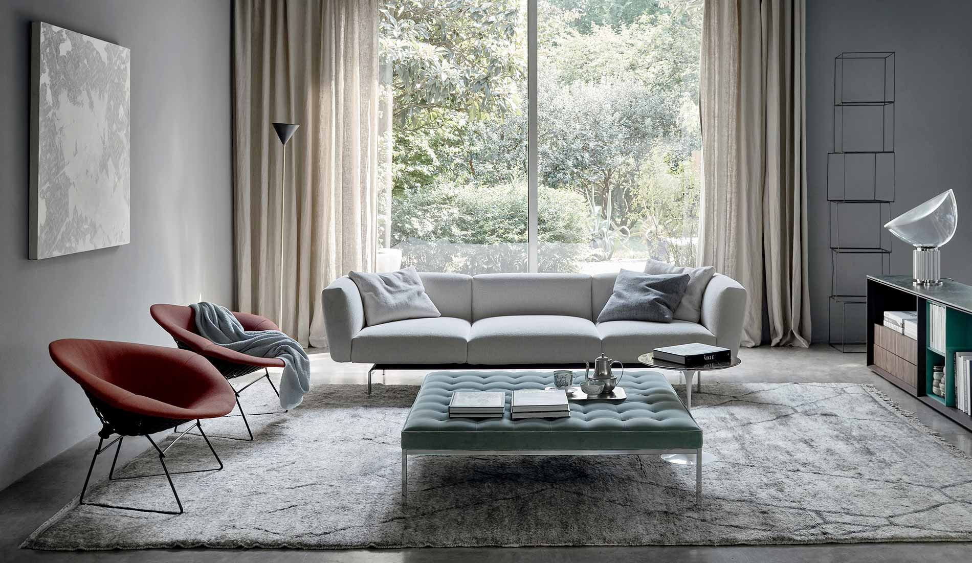 Knoll Living Room with Bertoia Diamond Chair Avio Sofa Florence Knoll Relaxed Bench