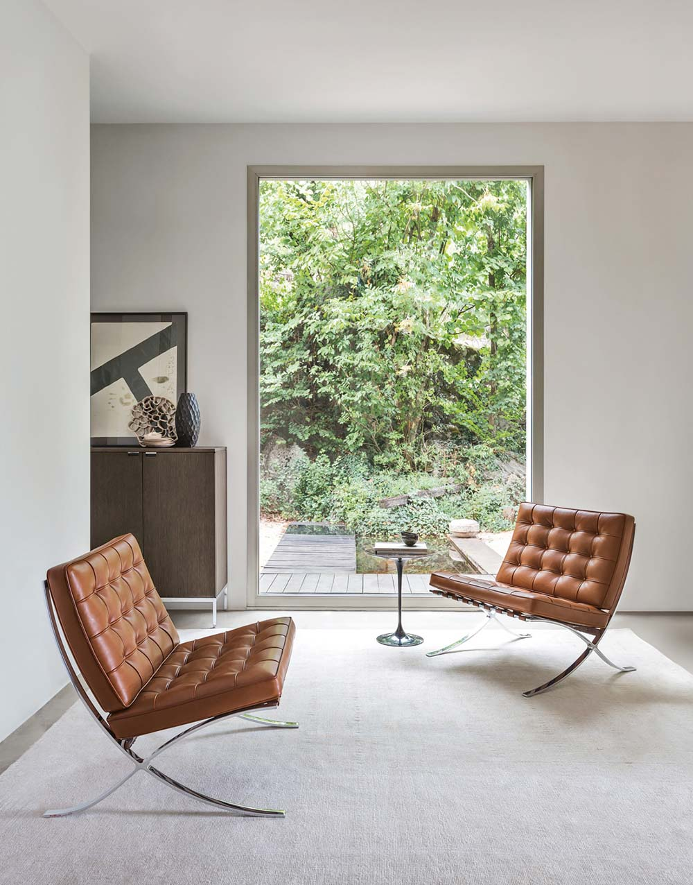 Knoll Living Room Furniture with Barcelona Chair