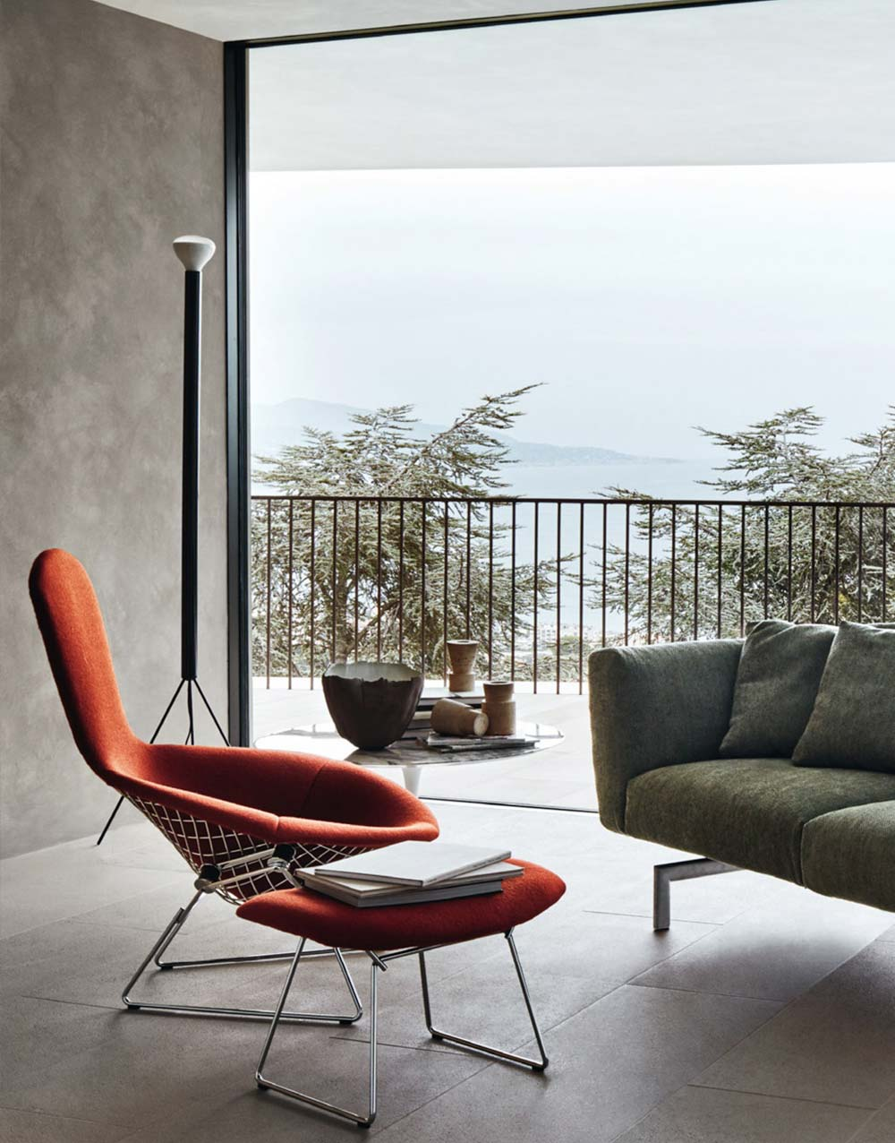 Knoll Living Room Furniture with Bertoia Bird Chair