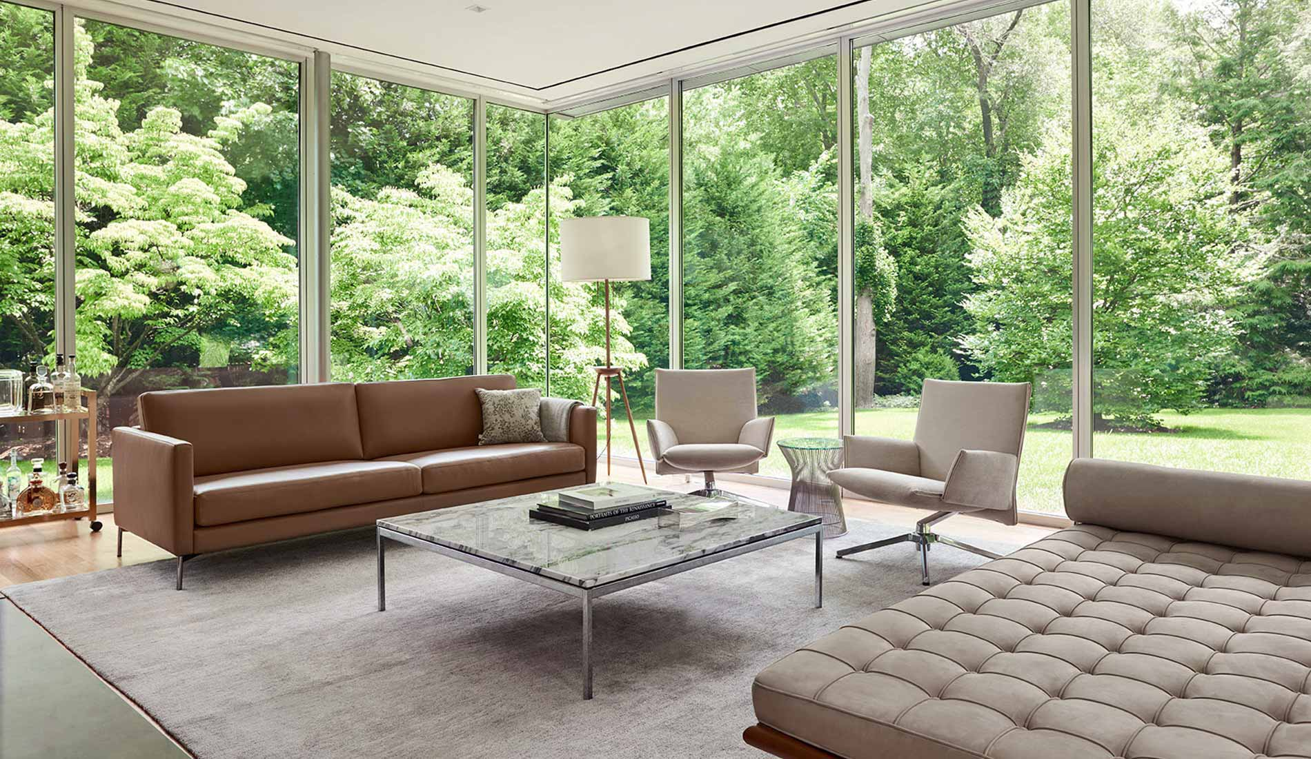 Knoll Living Room with Divina Sofa Pilot Chairs and Barcelona Couch