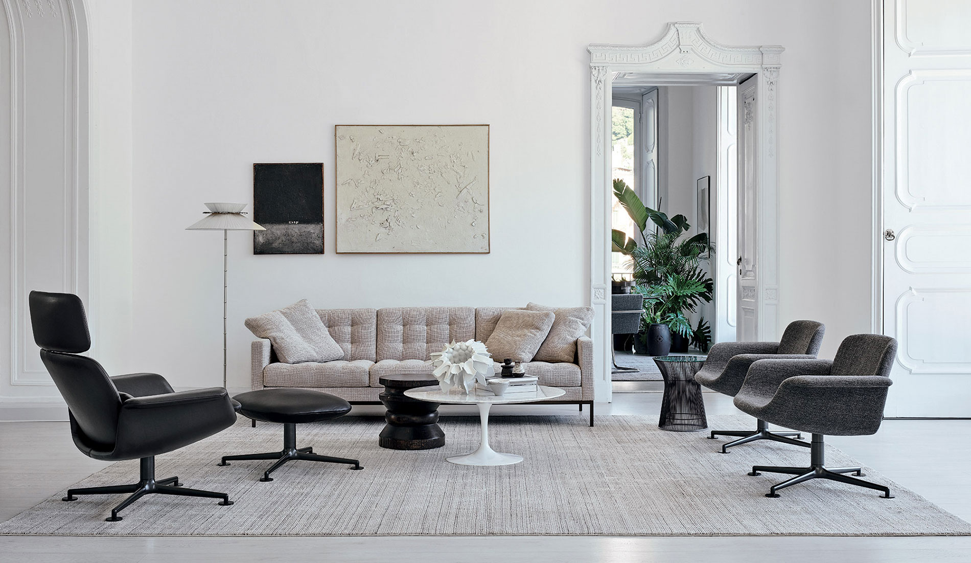 Knoll Living Room with KN Collection and Florence Knoll Relaxed Sofa