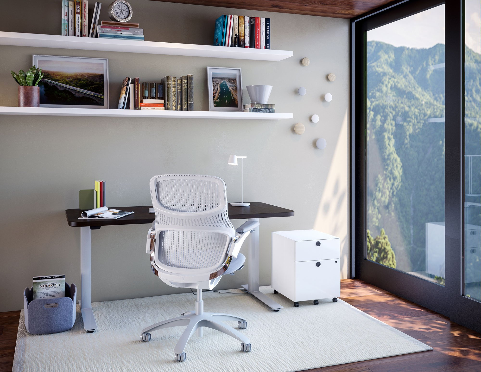 Hipso Height-Adjustable Desk with Generation by Knoll and Muuto accessrories. Work from Home Inspiration from Knoll and Muuto