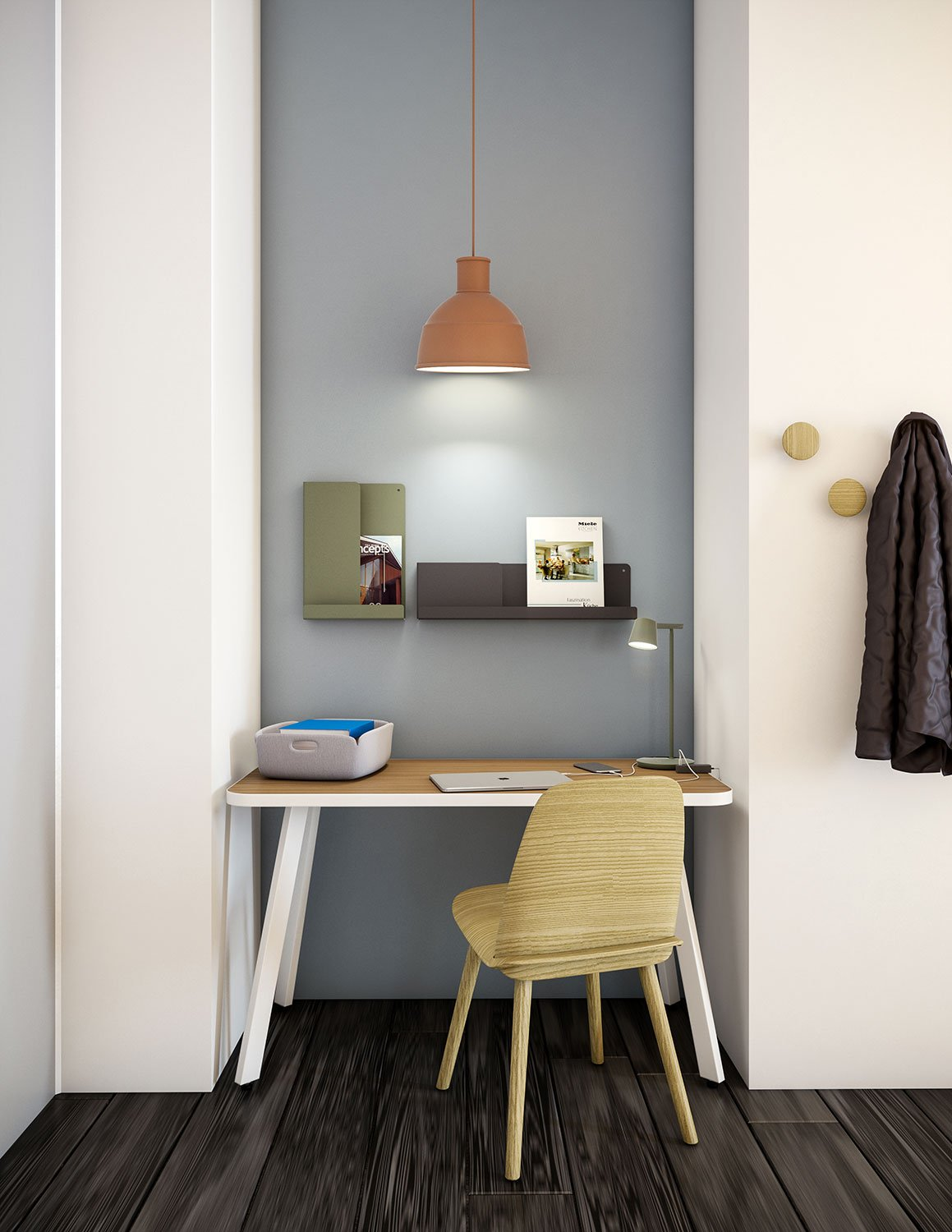 Rockwwell Unscripted Easy Tables with Muuto Nerd Chair Unfold Pendant and accessories Work from Home Inspiration from Knoll and Muuto
