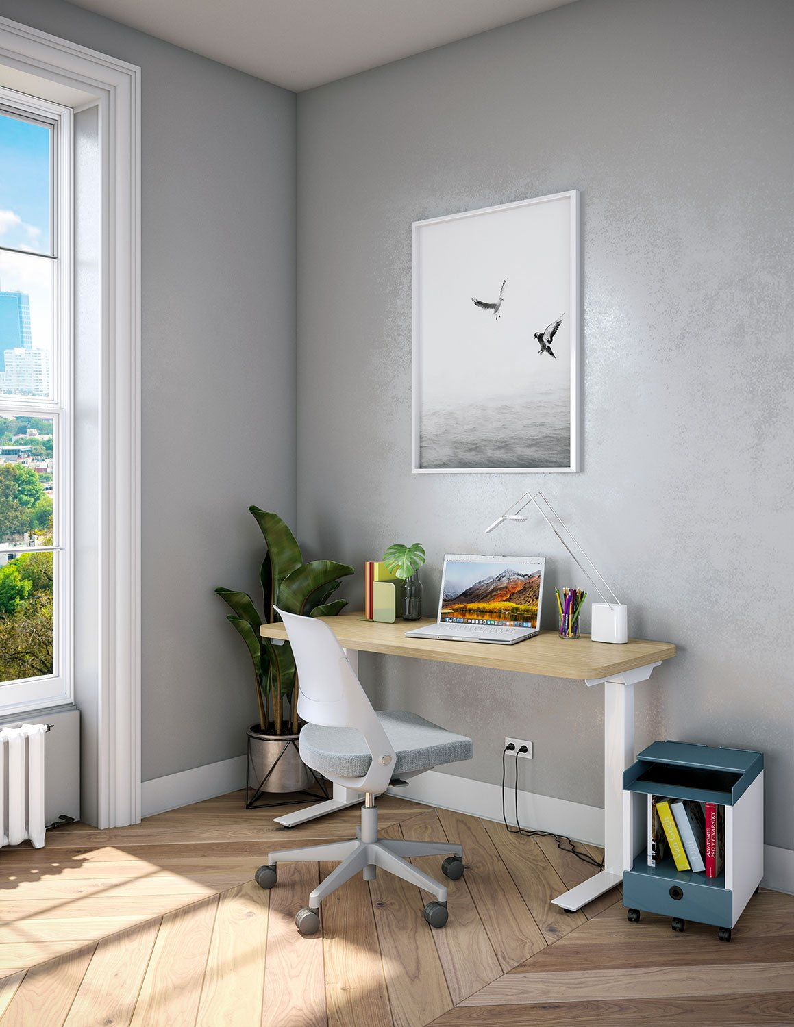 Hipso Height-Adjustable Desk with Ollo Light Task Chair and Muuto accessories Work from Home Inspiration from Knoll and Muuto