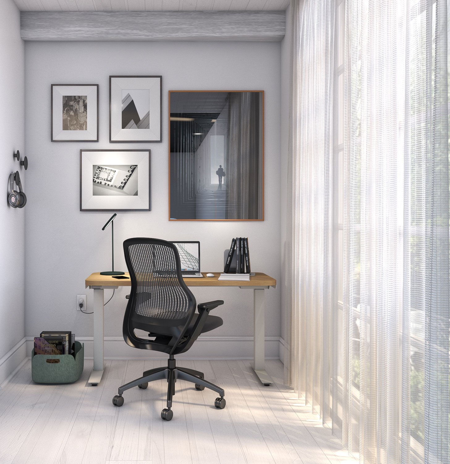 Hipso Height-Adjustable Desk with ReGeneration by Knoll Task Chair and Muuto accessories Work from Home Inspiration from Knoll and Muuto
