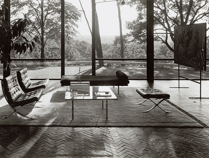Ludwig Mies van der Rohe's Barcelona Collection in Philip Johnson's Glass House in New Canaan