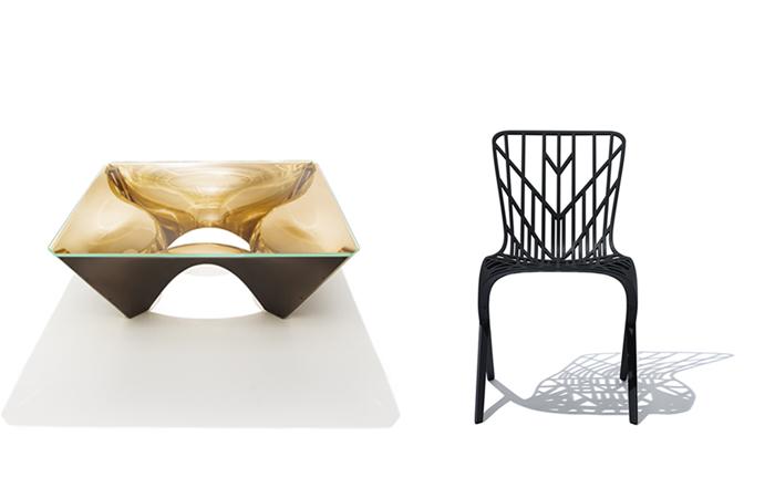 Washington Collection For Knoll By David Adjaye, 2014. Left: Washing Corona  Bronze Coffee Table. Right: Washington Skeleton Chair.