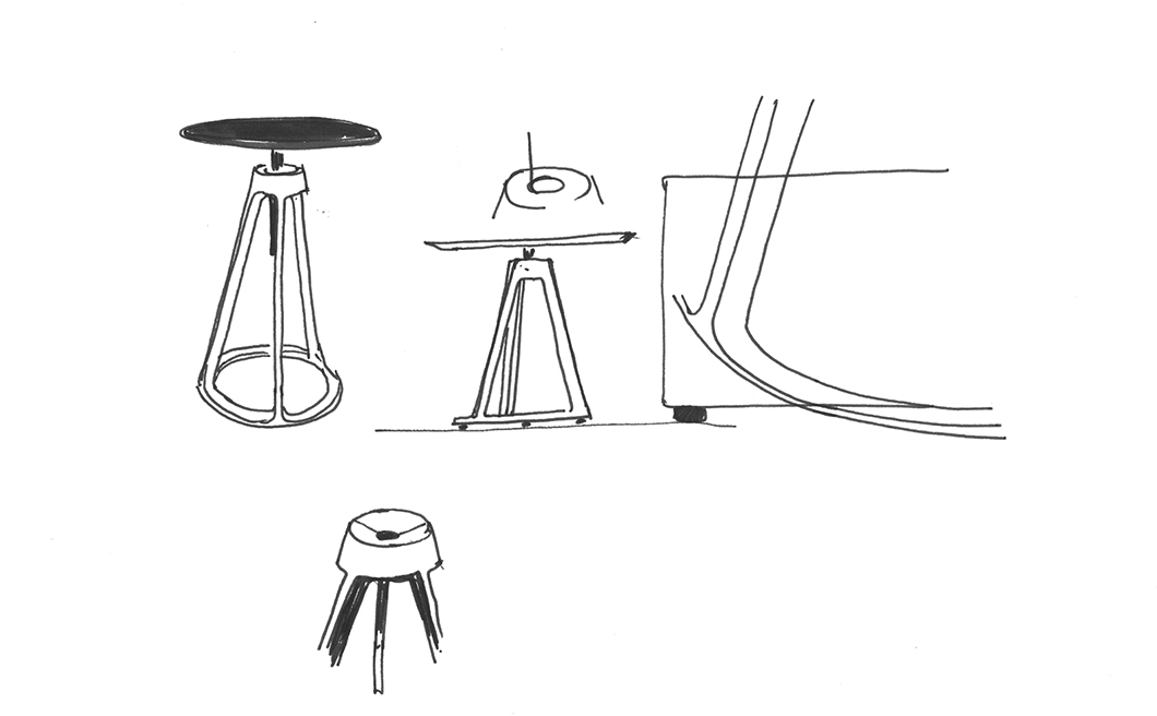 Sketches for Barber Osgerby's Piton™ Adjustable Height Side Table for Knoll, 2015 | Knoll Inspiration