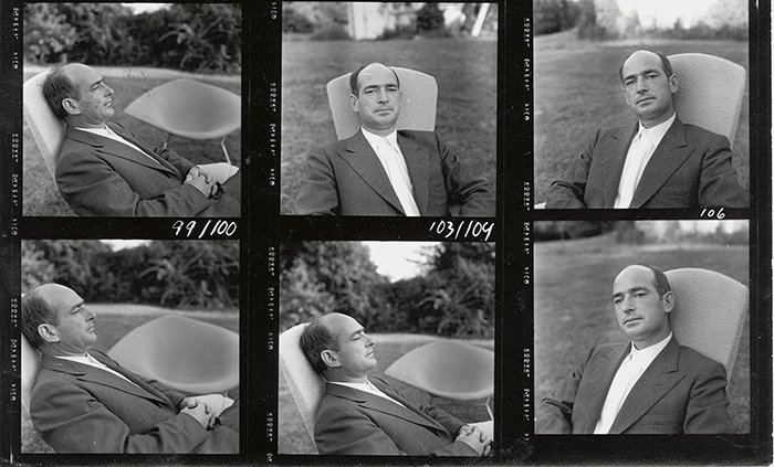 Portraits of Harry Bertoia from a photograph contact sheet for Knoll