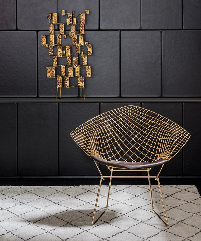 Bertoia diamond chair - Bertoia Diamond Chair In 18k Gold Plated Steel Photograph By Knoll