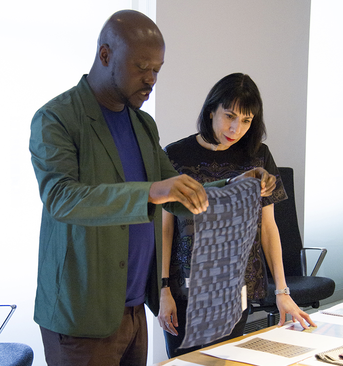 David Adjaye with Dorothy Cosonas reviewing textiles at the Cooper-Hewitt archive | Knoll Inspiration