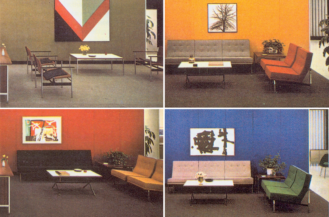 Four examples of CBS interiors designed by Florence Knoll | PC: Knoll Archive | Knoll Inspiration