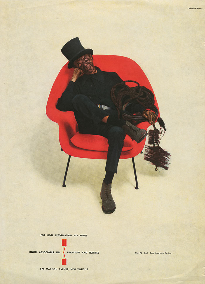 """Chimney Sweep"" advertisement for Eero Saarinen's Womb Chair 