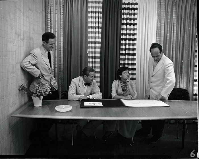 Left to right: Herbert Matter, Hans Knoll, Florence Knoll and Harry Bertoia | PC: Knoll Archive | Knoll Inspiration