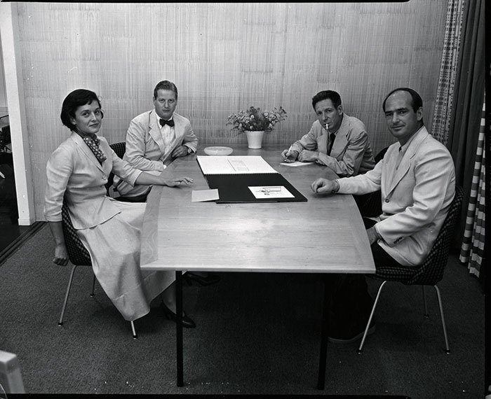 Florence Knoll and Hans Knoll with Knoll graphic designer Herbert Matter and Knoll designer Harry Bertoia