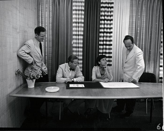 Herbert Matter, Hans Knoll, Florence Knoll, and Harry Bertoia