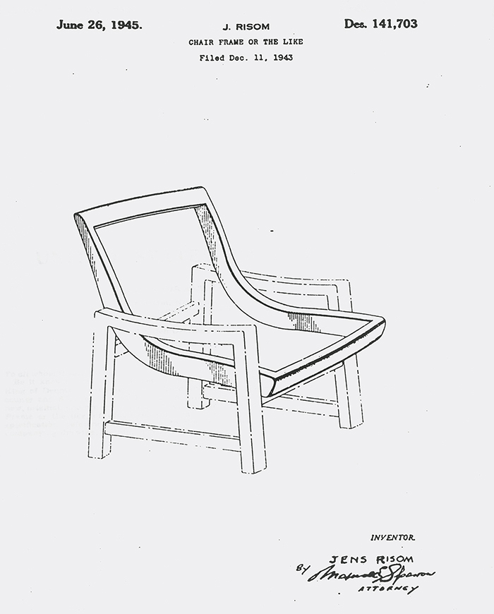 Jens Risom's patent for a chair frame, c. 1943 | PC: Knoll Archive | In Conversation with Helen Risom | Knoll Inspiration