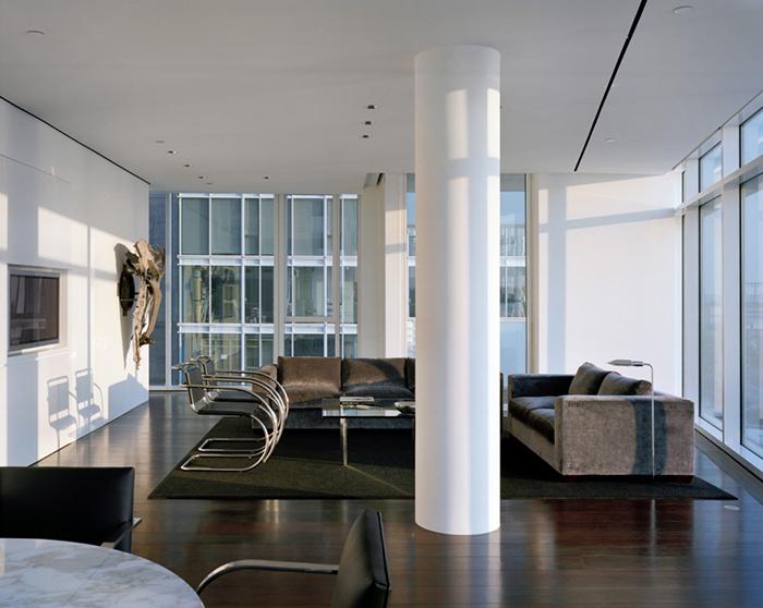 Richard meier 39 s kojaian apartment in nyc inspiration knoll for Living room city center barcelona