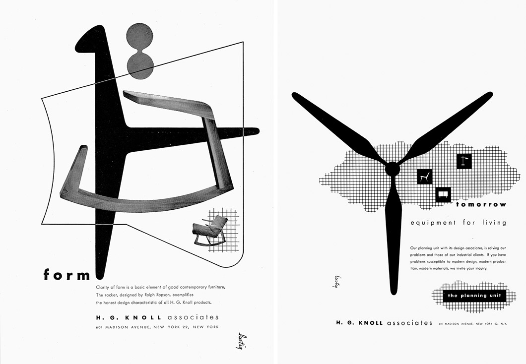 Knoll advertisements by Alvin Lustig | PC: Alvin Lustig Archive | Knoll Inspiration