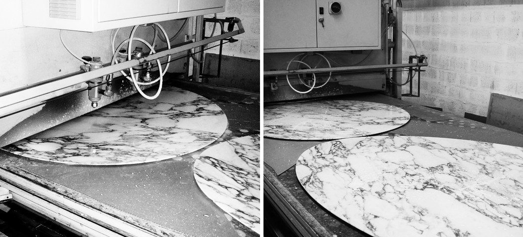 Marble tops being coated to ensure a lasting finish | Knoll Inspiration