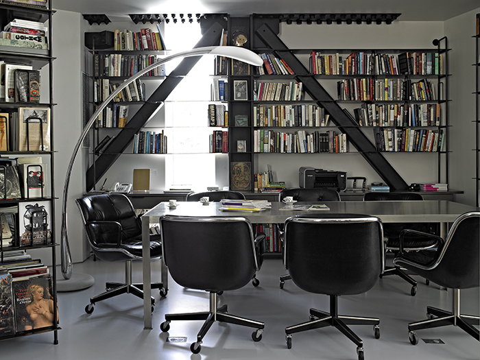 Office with Charles Pollock Executive Chairs for Marie Ève & Michel Berty's East Hampton Residence