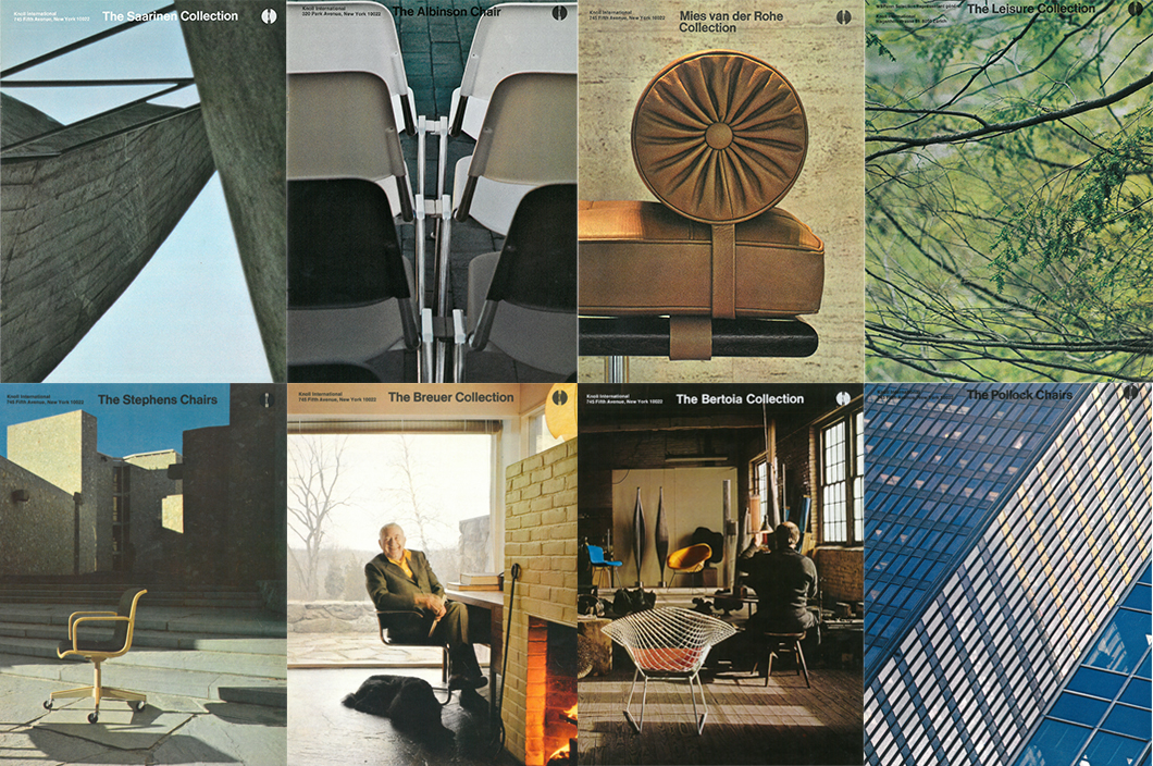 Examples of Jon Naar photographs on Massimo Vignelli-designed Knoll brochure covers, c. 1970s | PC: Jon Naar | In Conversation with Jon Naar | Knoll Inspiration