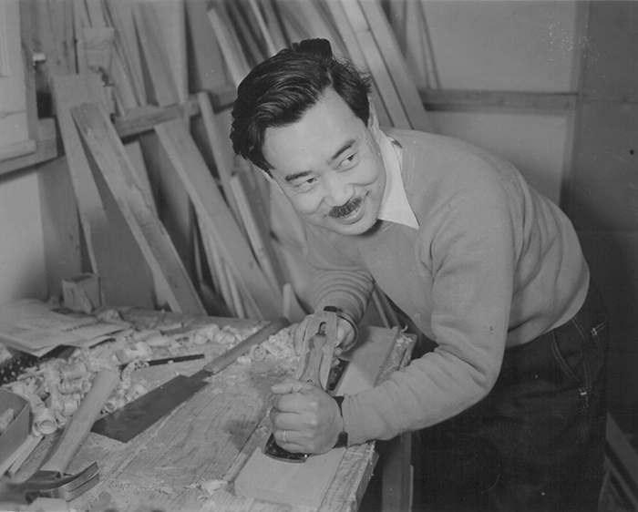 George Nakashima crafting at Camp Minidoka, 1942 | PC: Francis Stewart | Knoll Inspiration