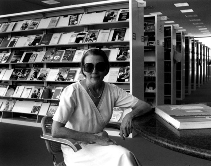 Interior designer Sally Walsh seated in Marcel Breuer's Cesca Chair in the Houston Public Library, 1976 | Knoll Inspiration