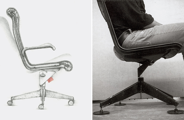 Sketch and prototype for the Sapper™ Management Chair, 1979 by Richard Sapper