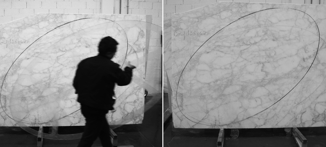 Marble being evaluated and marked for cutting by stone masters using designer-approved templates | Knoll Inspiration