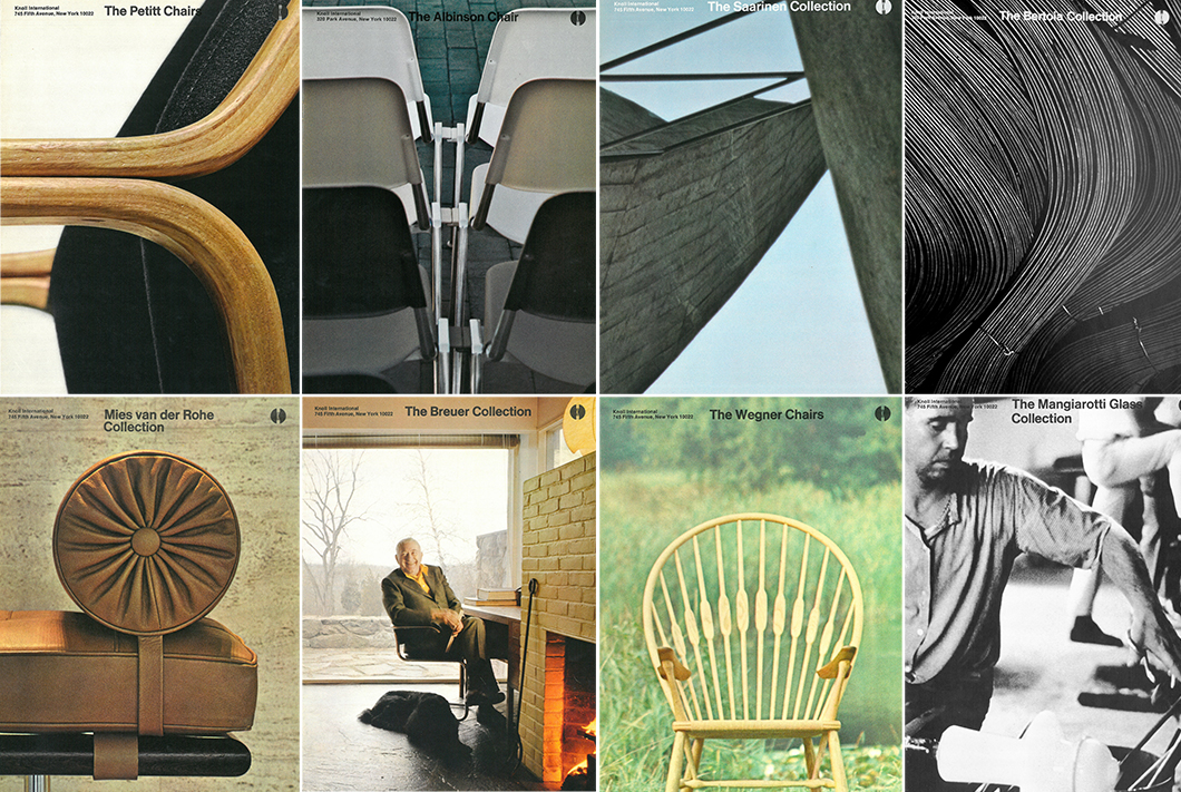 Examples of Massimo Vignelli's revised brochure program for Knoll, c. 1969 | PC: Knoll Archive | In Conversation with Kathy Brew | Knoll Inspiration