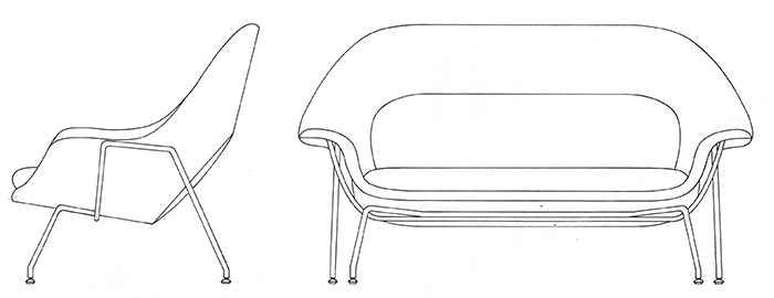 Dimensional drawing of Model 73 Womb Settee, 1948 | Knoll Inspiration