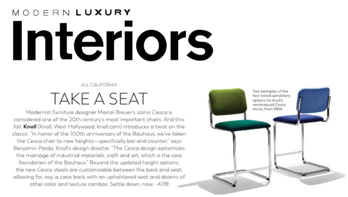 Houston Chronicle Features Cesca Stools, Saarinen Executive Stools and Butler Table