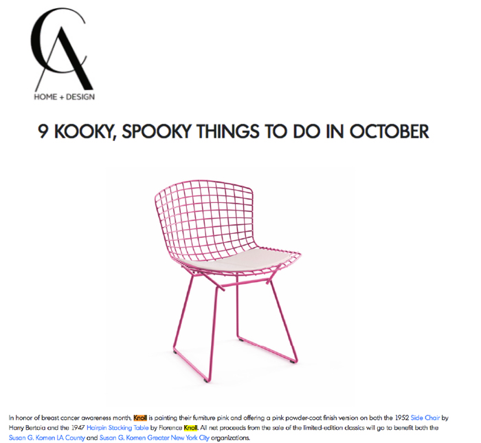 Knoll Bertoia Side Chair Pink Breast Cancer Awareness
