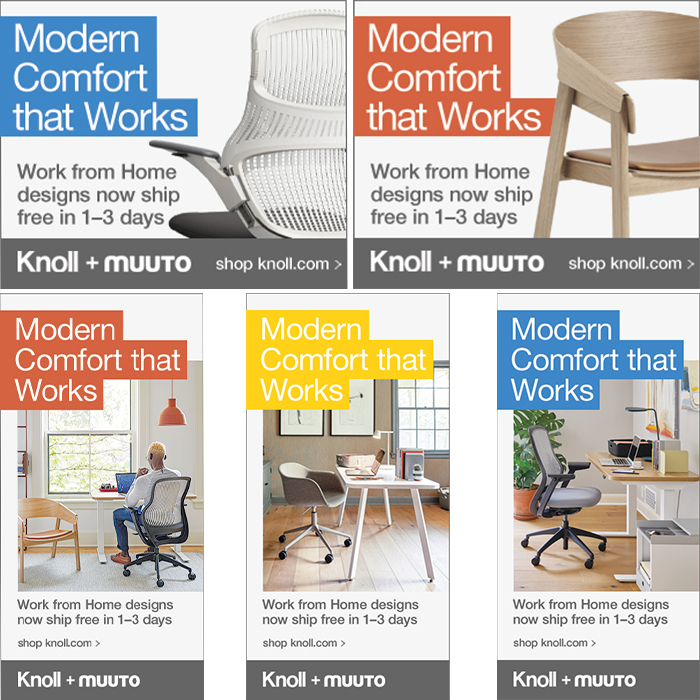 Knoll Digital Display Ads for Knoll + Muuto Work from Home