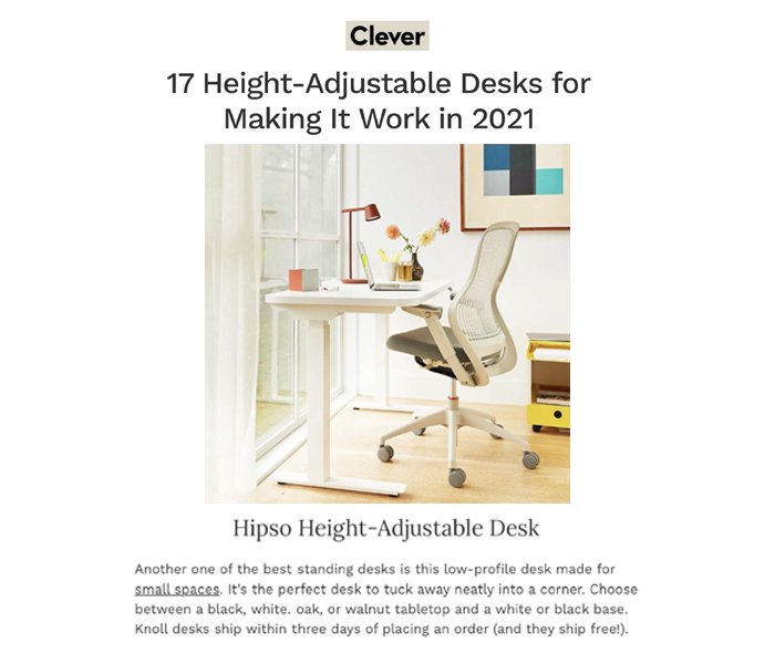 Hipso Height-Adjustable Desk in Clever