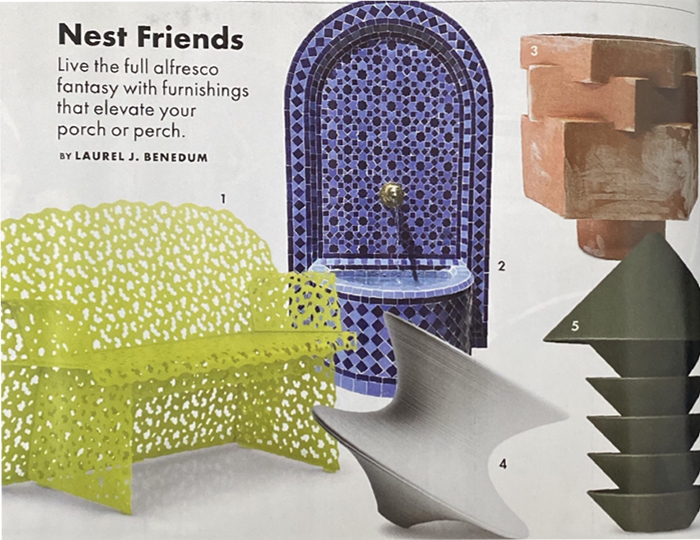 Elle Decor features Topiary Bench