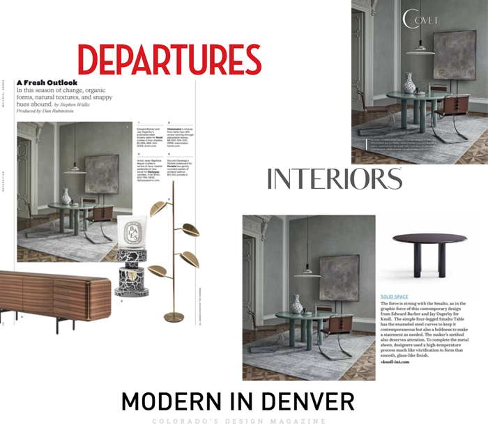 ISmalto Table Featured in Departures, Modern in Denver and Interiors
