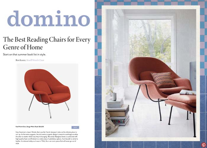 Domino Features Knoll Bertoia Side Chair and Saarinen Dining Table and Womb Chair