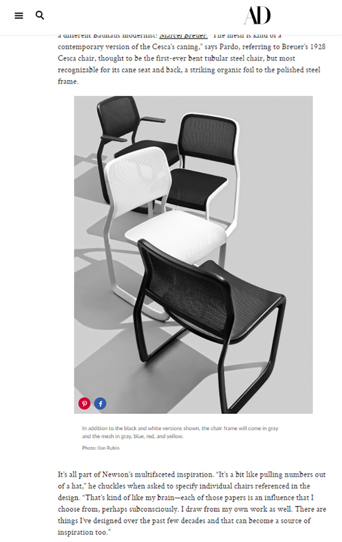 Architectural Digest and WSJ Magazine Feature the Newson Aluminum Chair